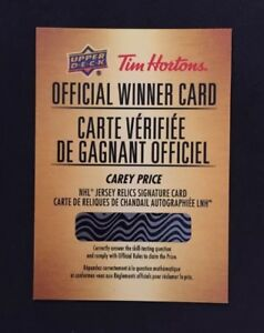 2018/19 UD Tim Hortons Carey Price Relic Autograph