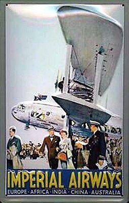 Imperial Airways bi-plane embossed steel sign 300mm x 200mm (hi)