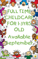 Full Time Childcare for child 1-3yrs old available in September