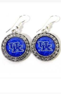 - Officially Licensed Univ. of Kentucky Wildcats Silvertone Round Crystal Earrings