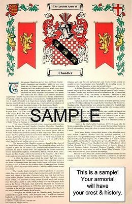 H 's SURNAME - Armorial Name History - Coat of Arms - Family Crest 11x17 CUSTOM