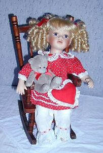 Porcelain Doll with 2 Bears in pocket .. Excellent Condition .. Cambridge Kitchener Area image 10