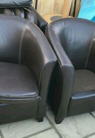 6 Dark brown tub chairs For sale
