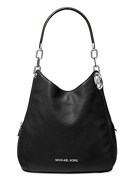 Michael Kors Lillie Chain Leather Hobo Black Silver Shoulder Bag