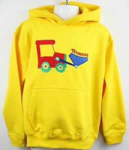 Personalised-Baby-Boys-Embroidered-Hoodie-with-Digger-Applique-age-1-6-3-Colours