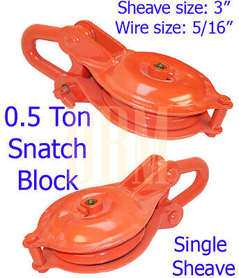 0.5 Ton Yb Snatch Block Single Sheave Wire Rope Hoist 3 Pulley Rigging Shackle