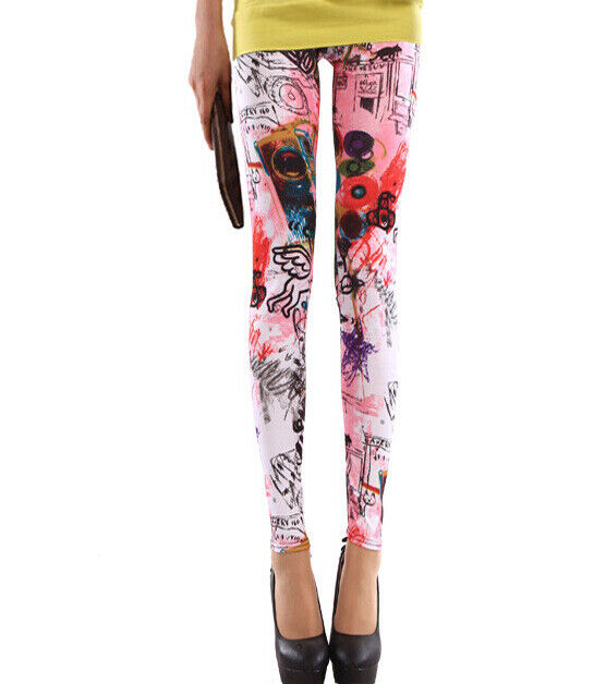 Graffiti Print High Waist Skinny Fitness Leggings Yoga Gym Stretch Workout Pants Clothing, Shoes & Accessories