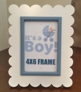 Solid Wood Photo Frame In White & Blue For Baby Boy (From IKEA)