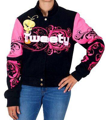 Tweety Bird Ladies Jacket Pink Black Cotton Twill Embroidered