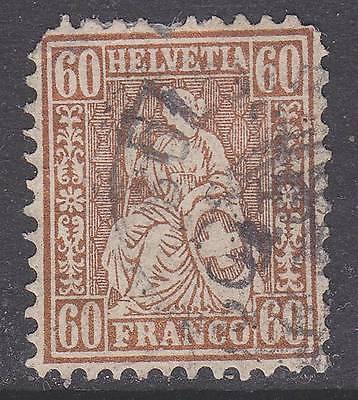 Switzerland sc#48 1862 60c Helvetia used - '12 scv$210 - b21044