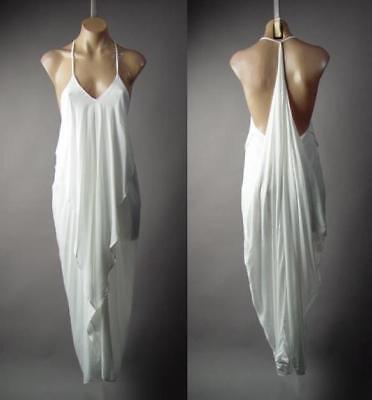 White Ruffle Draped Grecian Goddess Long Maxi Cami Slip Gown 216 mv Dress S M - White Gown