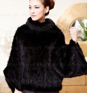 100% Real Genuine Knit Mink Fur Coat Jacket Outwear Women 2Colors Winter Deluxe