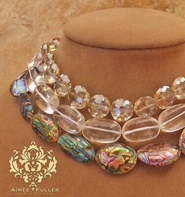 3-Strand Abulón Paua Collar Perlas Cristal Checo & Cuarzo Cuentas Boda