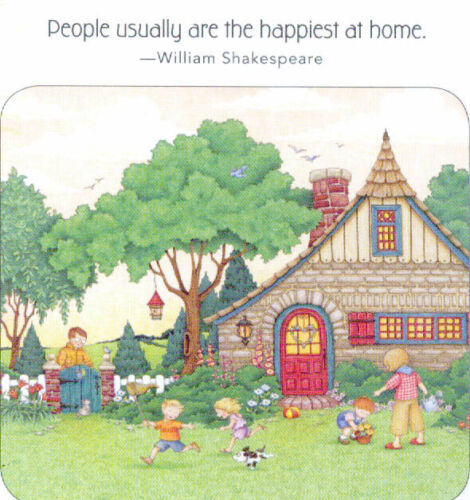 Shakespeare-PEOPLE HAPPIEST AT HOME-Handcrafted Magnet-w/Mary Engelbreit art