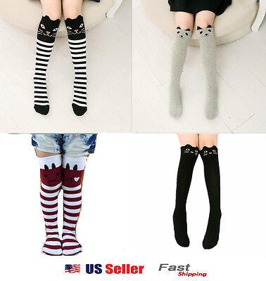 Bear Knee High Socks - Toddlers Kids Girls Cotton Cat Striped Grey Bear Knee High Socks 2-7Y