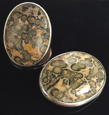 Leopard Skin Jasper Chalcedony Cabochon and Sterling Silver Clip-on Earrings