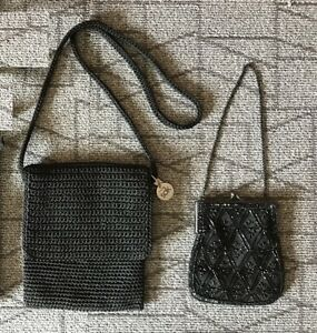 "Black Purses – Knit Shoulder ""The Sak""/ Beaded hand bag"