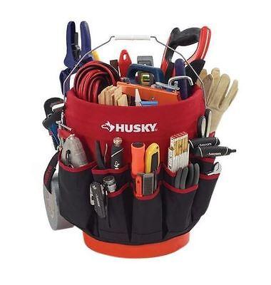 Husky Bucket Jockey Tools Storage Portable Bag Deep Pockets Organizer Pouch Tote