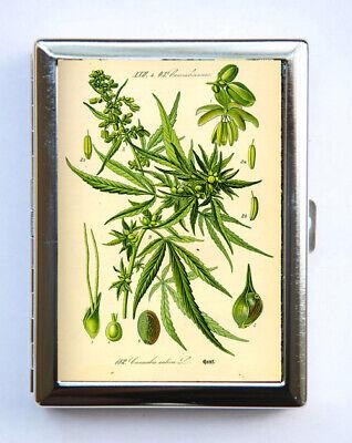 Vintage Cannabis Botanical Cigarette Case Wallet Business Card Holder