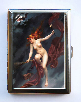 Nude Witch Bats Metal Cigarette Case Wallet Business Card Holder -