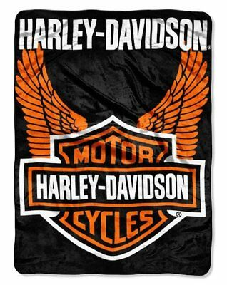 Harley Davidson Orange Wings Queen Size Plush Raschel Throw Blanket 76 x 94 in (Orange Throw Blanket)