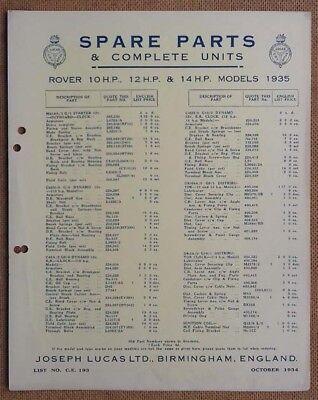 Rover 10hp, 12hp & 14hp 1935  Lucas Parts List 193