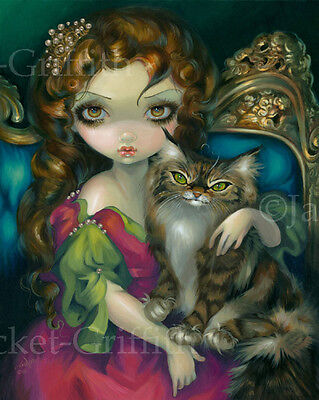 - Jasmine Becket-Griffith art print SIGNED rococo Princess with a Maine Coon Cat