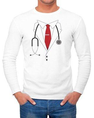 Herren Long-Sleeve Chefarzt Kostüm Fasching Karneval Fun-Shirt - Arzt Kostüm Shirt