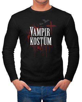 Herren Longsleeve Vampir-Kostüm Faschings-Shirt Halloween Karneval - Kostüme Vampir Shirt