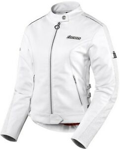 Icon Womens Hella Leather Jacket, white, size medium