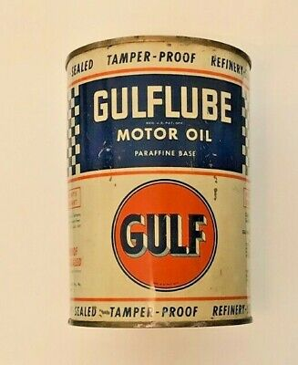 Vintage GULFLUBE Motor Oil-1 QT-Unopened/FULL Can-Gold Top-1930s-1940s?