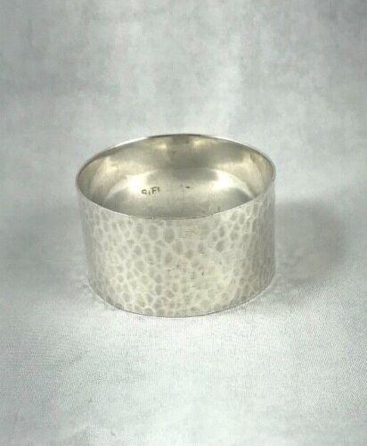 """Hammered Arts & Crafts Sterling Large Napkin Ring-1"""" Wide"""