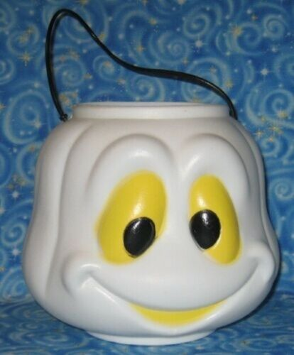 Halloween Ghost Trick Treating Candy Pail General Foam Plastic Yellow Eyes White