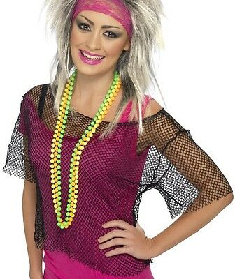 Top 80s Halloween Costumes (Ladies 80s 80's Fancy Dress Mesh Crop Top Black Fishnet T Shirt Madonna)