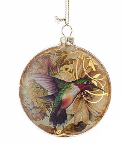 """KURT ADLER 3.3"""" GLASS DISC w/GOLD HUMMINGBIRD PATTERN CHRISTMAS ORNAMENT"""