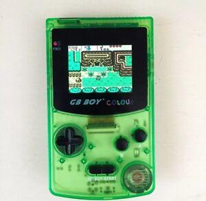 GB Boy Colour - Backlit Nintendo Game Boy Color Clone Console NEW Crystal Green