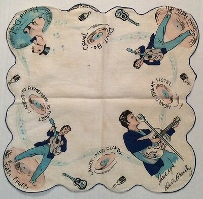 Elvis Presley - Handkerchief - 1956 - EPE - Blue on White with Blue Border