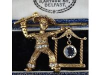 Vintage Chinese/Asian Man With Crystal Gold Tone Brooch