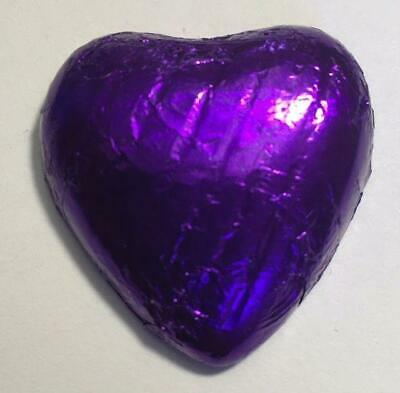 50 Purple Foiled Wrap Solid Milk Chocolate Hearts Wedding Engagement Favours - Foil Wrapped Chocolate Square