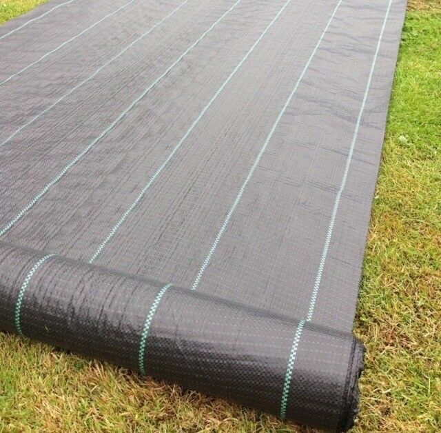 weed barrier garden membrane new control fabric heavy duty chips gravel driveway slabs paving. Black Bedroom Furniture Sets. Home Design Ideas