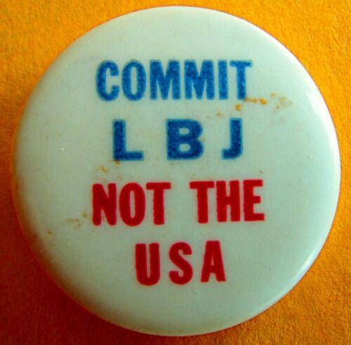 Vintage Vietnam Anti War Protest Peace Pin Pinback Commit LBJ Not the USA
