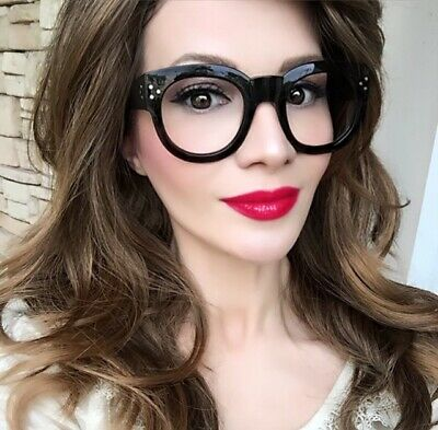 Big Thick Retro Round Baby Audrey Clear Women Designer Eye Glasses Frames (Round Eye Frames)