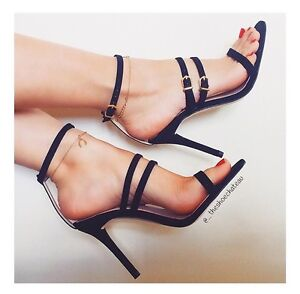 Zara-Black-Leather-Strappy-Sandals-High-Heels-Shoes-Size-UK-4-6
