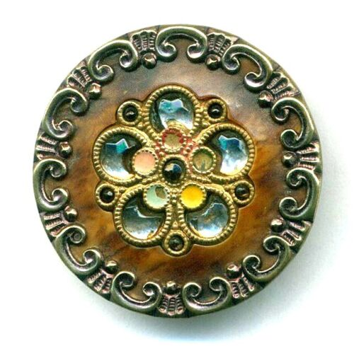 Antique Button…Pretty Large Victorian Celluloid w Glass Perforates & Color Dots