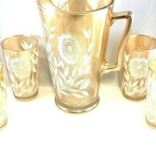 Vintage MCM Jeanette Marigold Pitcher Six Tumblers Cosmo Pattern
