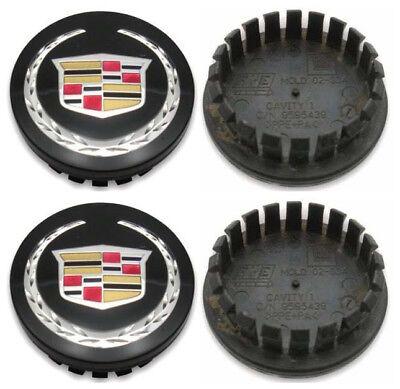 "4PC SET Black Wheel Center Hub Caps Cadillac ATS CTS DTS SRX STS XLR XTS 2.6"""