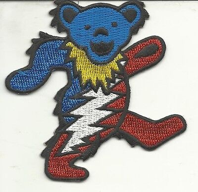 (GRATEFUL DEAD LIGHTING BOLT RED WHITE AND BLUE JERRY BEAR EMBROIDERED PATCH )