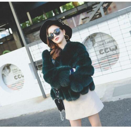 Ladies Faux Fur Coat Jacket Parka Thicken Winter Celeb Party Overcoat Outwear Sz
