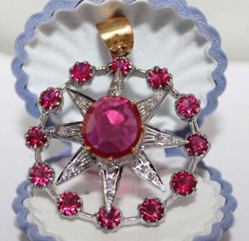 0.75ct ROSE CUT DIAMOND RUBY ANTIQUE VICTORIAN LOOK 925 SILVER VALENTINE PENDANT