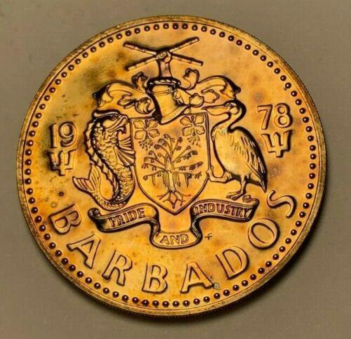1978 BARBADOS 5 DOLLARS BU UNC TONED COLOR HI LUSTER!!!!!